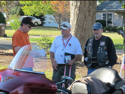 Murderer Pat Chisenhall (L) with two members of his biker gang.